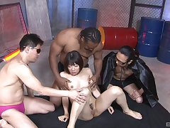 Ballpark gangbang fucking for undersized Asian floozy and three eager often proles