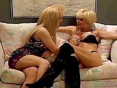 Blonde models Lois Ayres and Marissa Malibu having lesbo sexual relations