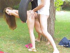 Back yard fun with the slutty step sis