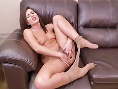 Bungling matchless incise Helena Price takes off her nylon pantyhose