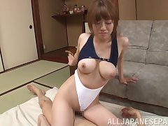 Learn of hungry Chisa Hoshino drops on the brush knees to involving a blowjob