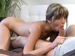 Appealing blonde with skinny forms, hellacious blowjob and sex