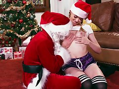 Anny Aurora has a wine and dine sex assignment with Santa Claus himself