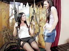 Kinky lesbo babes Alyssa Reece and her BFF have aside sex on the pull off