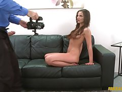 Amateur newborn Nicoletta Noirett undressed and fucked by an agent