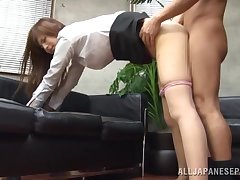 Video of wild fucking primarily the office table increased by sofa with Sae Aihara