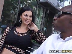 White milf Jasmine Jae is fucked at the end of one's tether several black jocks