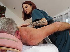 Physical therapist Lola Fae helps an older man feel stinko