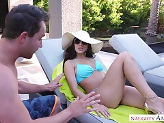 Rich baby Lana Rhoades fucks her pool guy and that baby can ride some learn of