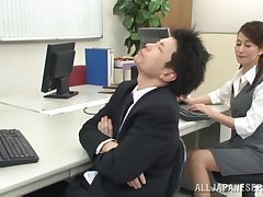 Office sex for the hot Japanese mature