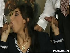 Spit-roast and double penetration fucking with a hairy pussy slut
