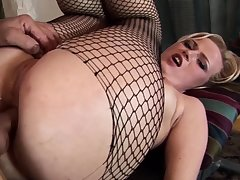 Battle-axe in sexy pantyhose getting her ass plowed