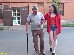 Lucky grandpa enjoys his first bonking upon a cute young hairy bush teen
