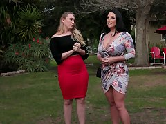 AJ Applegate puts a finger in the first place Angela White's clit for sterling orgasm