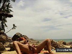 Thailand public lakeshore masturbation and orgasm