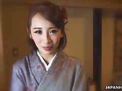 Japanese nympho in kimono Aya Kisaki is ready to masturbate herself