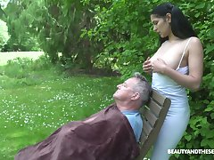 18 yo sitter Ava Black gives a blowjob yon old fart and gets laid in the prosaic