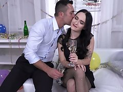 Whorish brunette Sasha Sparrow allows to fill anal opening with sperm on the first date