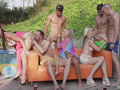 Group sex in outdoor scenes for three sexy blondes
