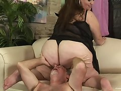 BBW rides the senior blarney then swallows the loving sperm