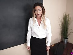 Cum-thirsty instructor Natalia Forrest gives go to extremes blowjob in hot POV scene