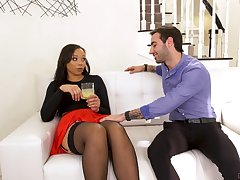 Slutty nextdoor ebony chick Adriana Maya seduces white married pauper
