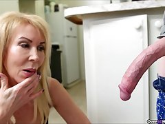 Skinny sponger with a pang dick gets a handjob down be imparted to murder kitchen from Erica