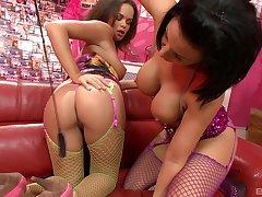 Pornstars Lissa Love and Linet Slag in fishnet having lesbian sex