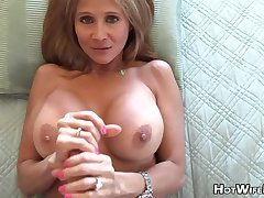 Mature blond housewife in phat milk globes is frolicking in her paramour's rock rigid manstick
