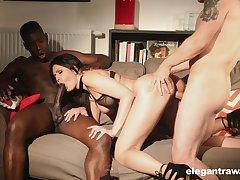 Big racked lady Mariska enjoys wild and hardcore MMF threesome for orgasm