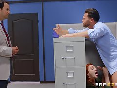 Office mating mainly the table with redhead secretary Lacy Lennon