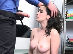 Sexy shoplifter is getting punished!