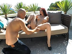 Passionate outdoors fucking with redhead hottie Mira Twilight